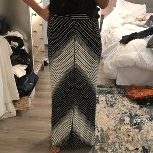 Maxi Skirt with Black and White Diagonals